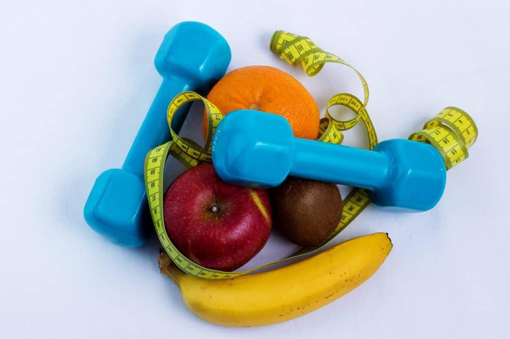 meten, fruit, oefengewichten