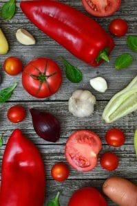 paprika's, tomaten
