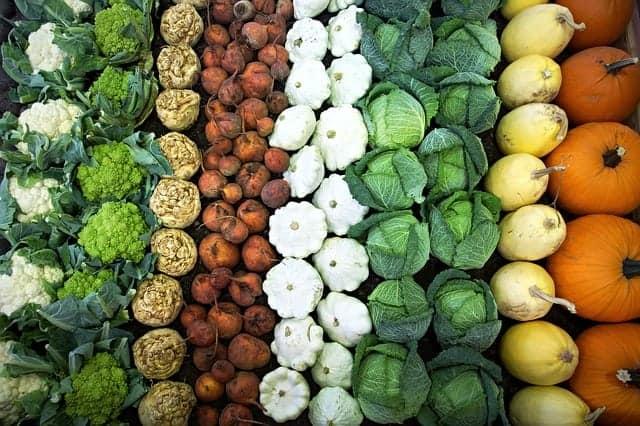 groentekraam kool, bloemkool, broccoli, pompoen