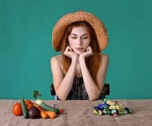 de keuze tussen gezonde voeding en snoepjes