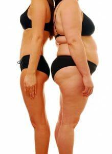 slanke vs zwaarlijvige lichaamsvorm, gewichtsverlies