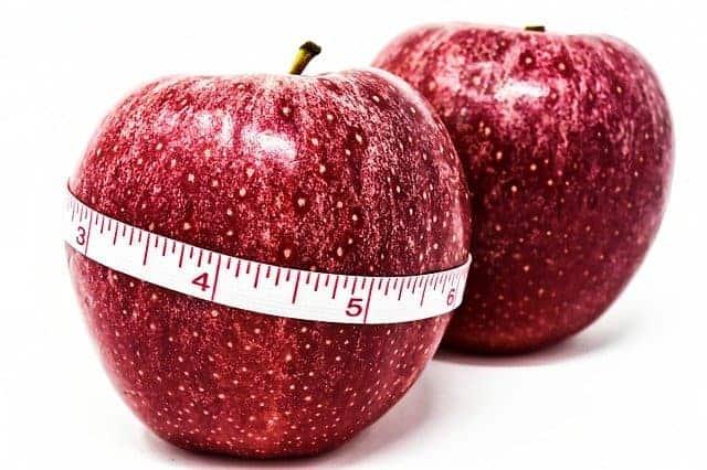 appel gebonden door een centimeter, gewichtscontrole