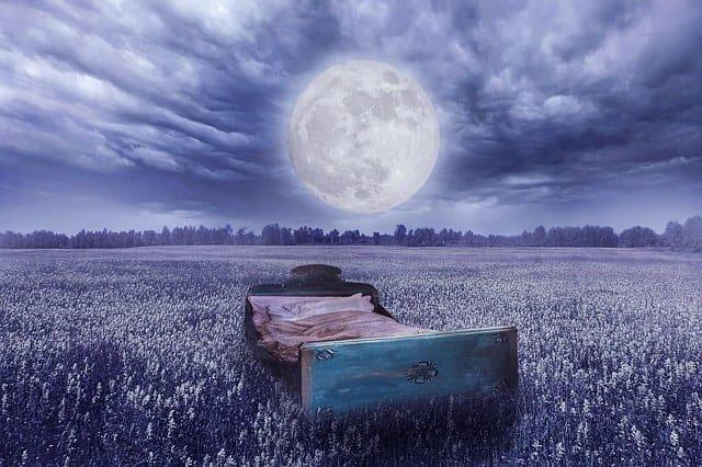 droom werkelijkheid - een bed in een weide, de volle maan